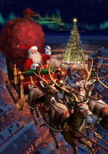 mikulás, santa, reindeer