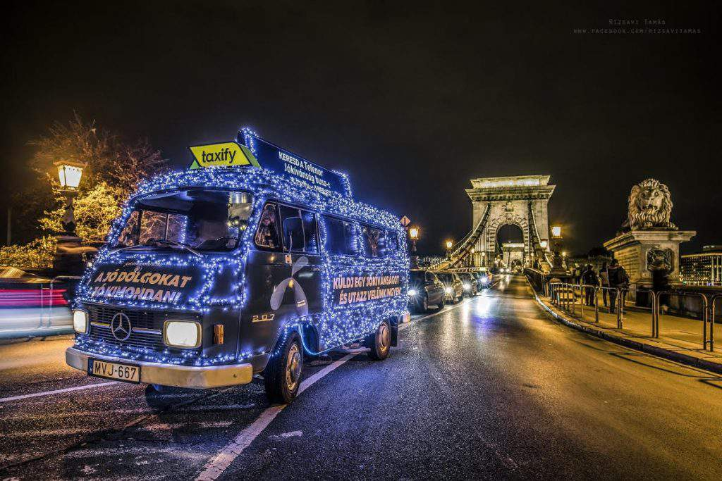 bus, christmas, led