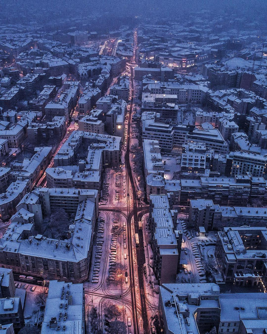 Winter Budapest Snow City Lights