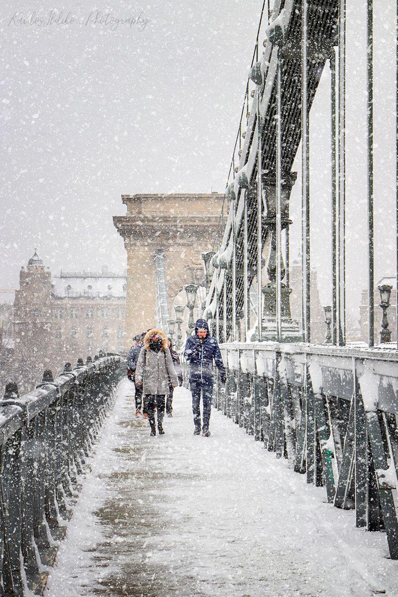 Winter Snow Lánchíd Budapest