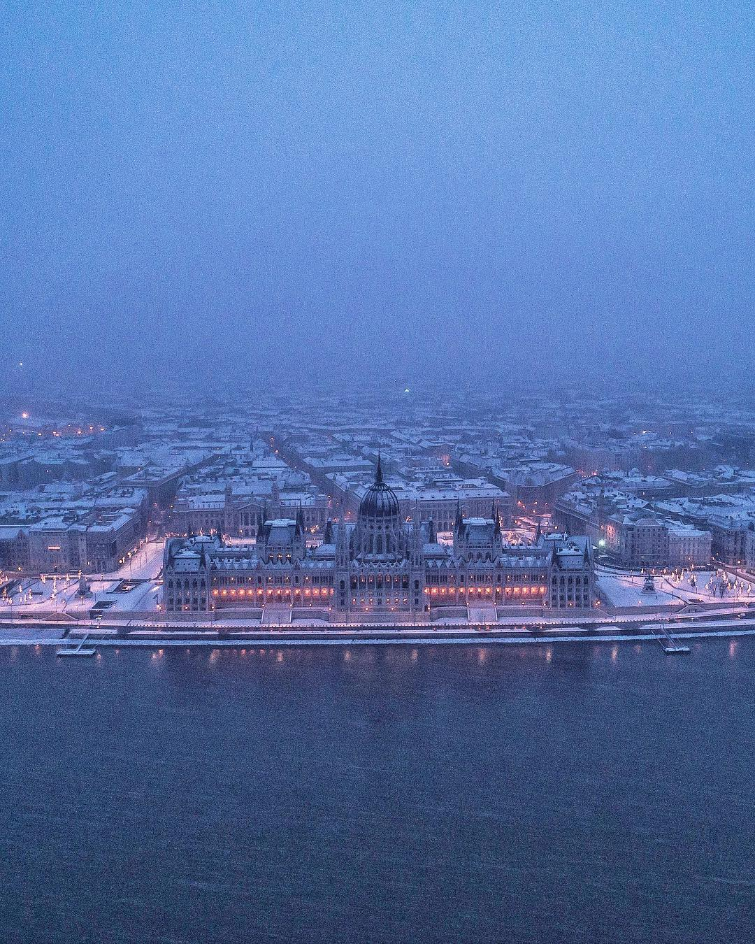 Winter Budapest Snow Parliament Danube