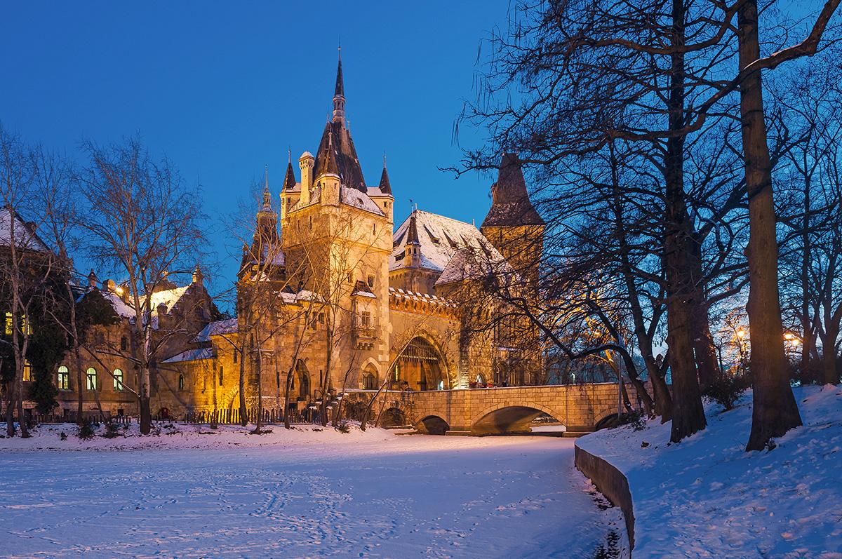 Budapest Snow Winter Castle of Vajdahunyad Városliget Park