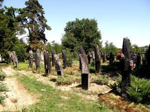 Szatmárcseke_csónak_alakú_fejfák_-_panoramio-wood- cemetery-hungarian-countryside