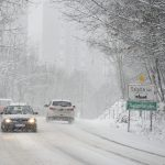 snow Hungary car traffic