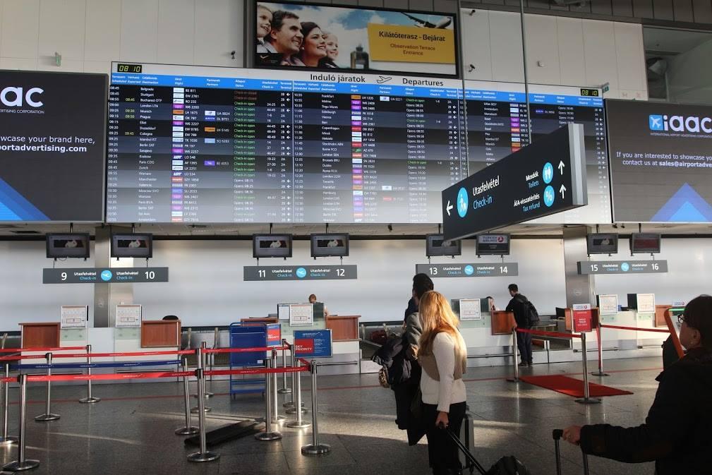 Budapest Airport, Hungary, screen, airport