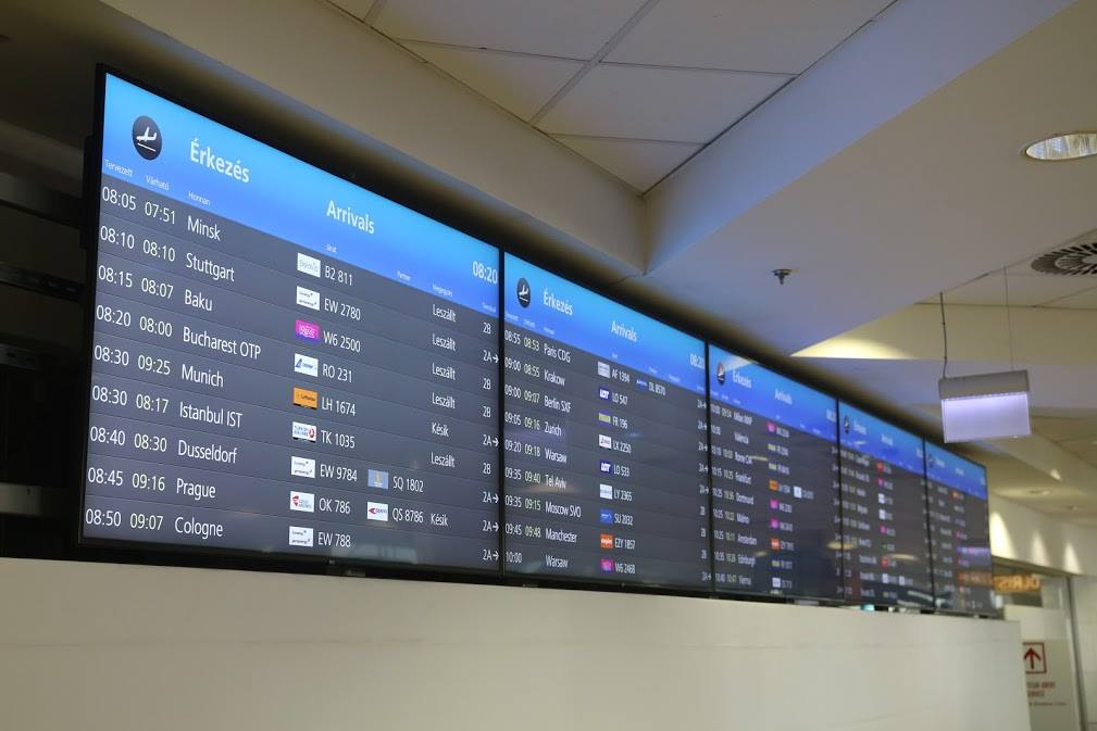 Budapest Airport, screen, airport, Hungary, digital