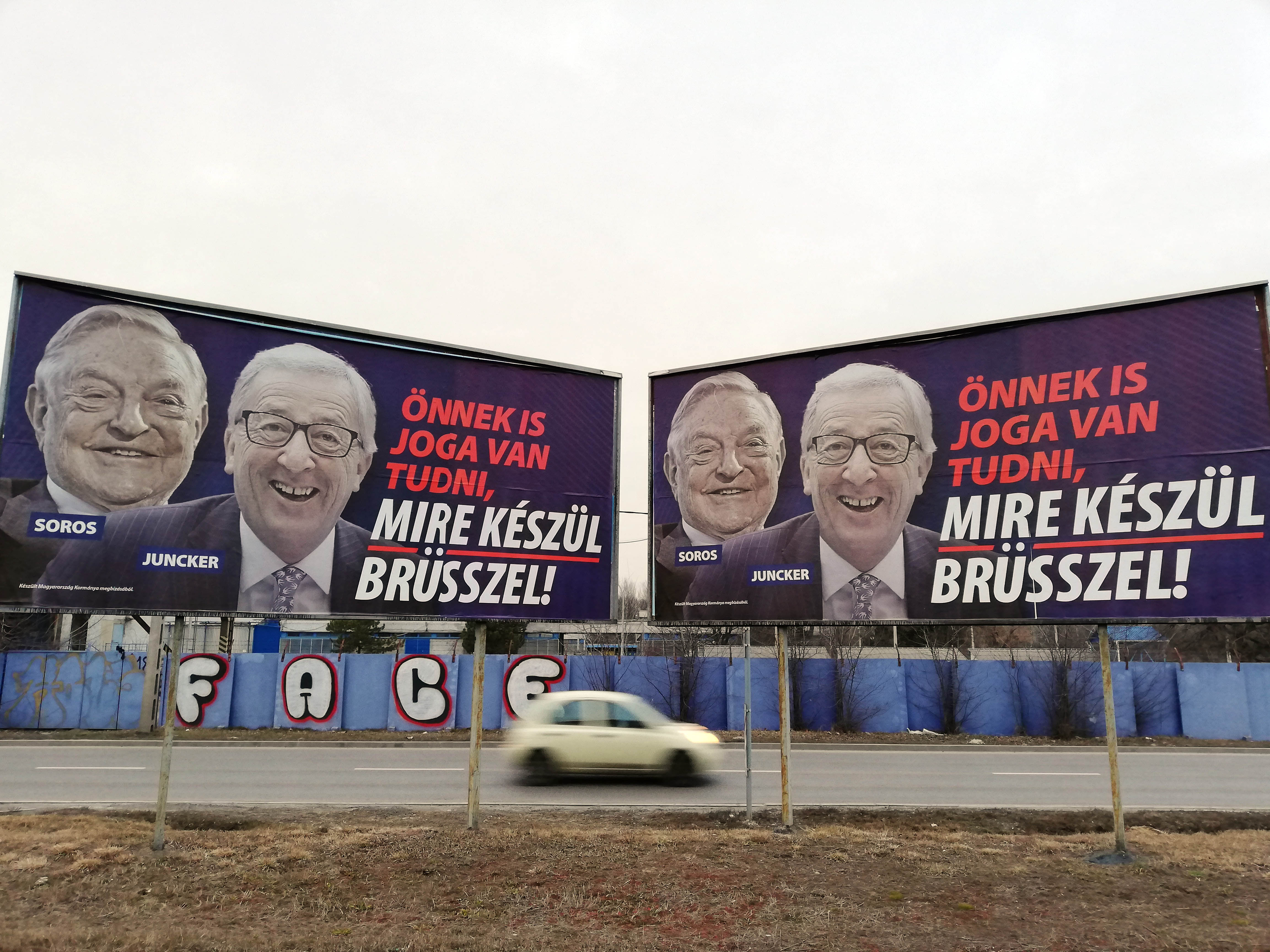Soros Juncker EU Hungary billboards