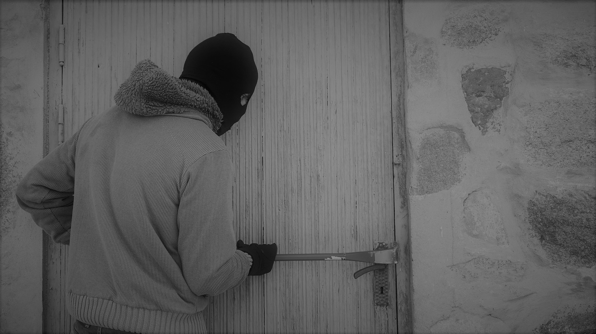Thief, crime, burglar, door, black, mask