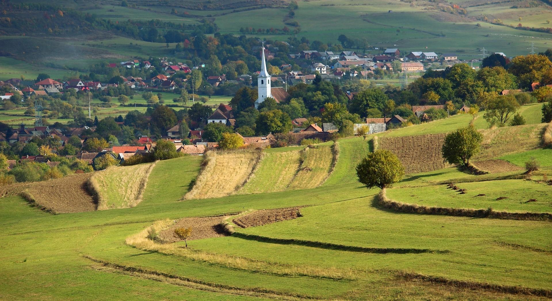 Transylvania, Romania, landscape, church, countryside
