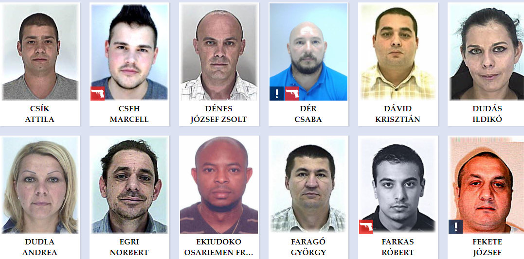 hungary top 50 most wanted Hungarian criminals Screenshot police.hu