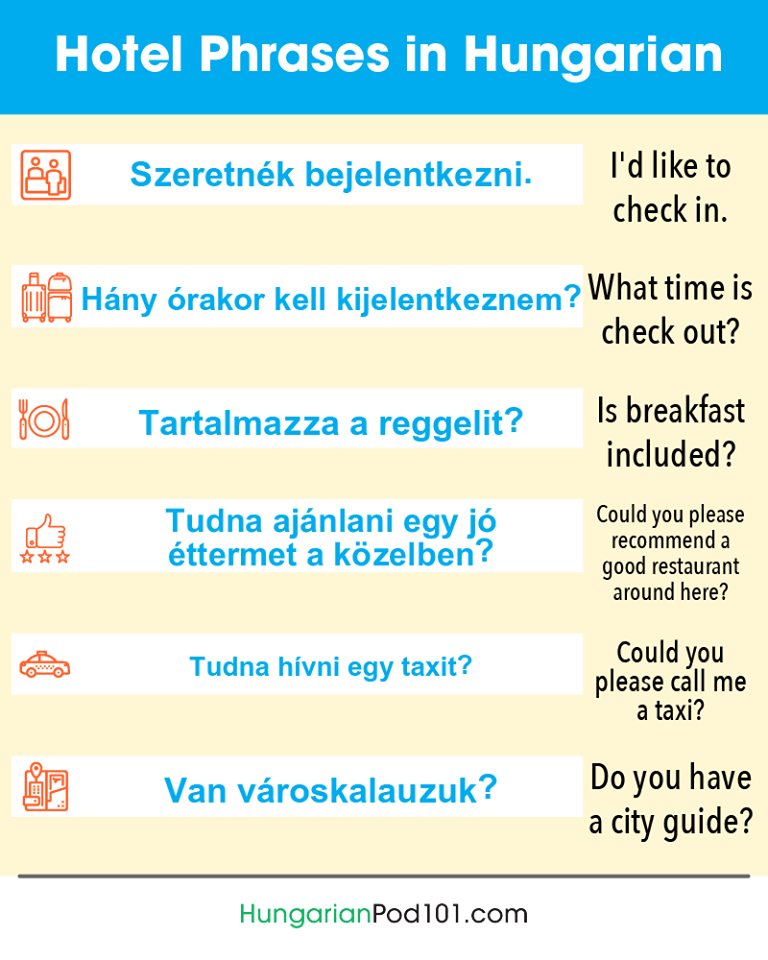 Hotel phrases in Hungarian
