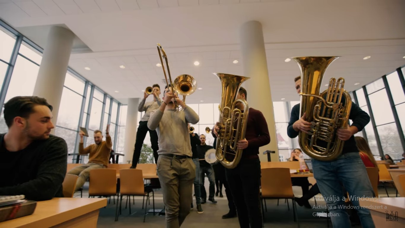 Szeged University trumpet flashmob