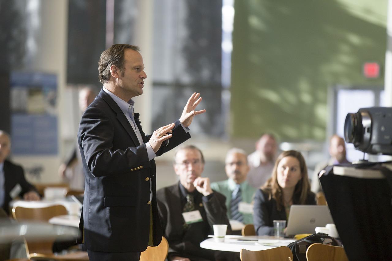 conference speech businessman