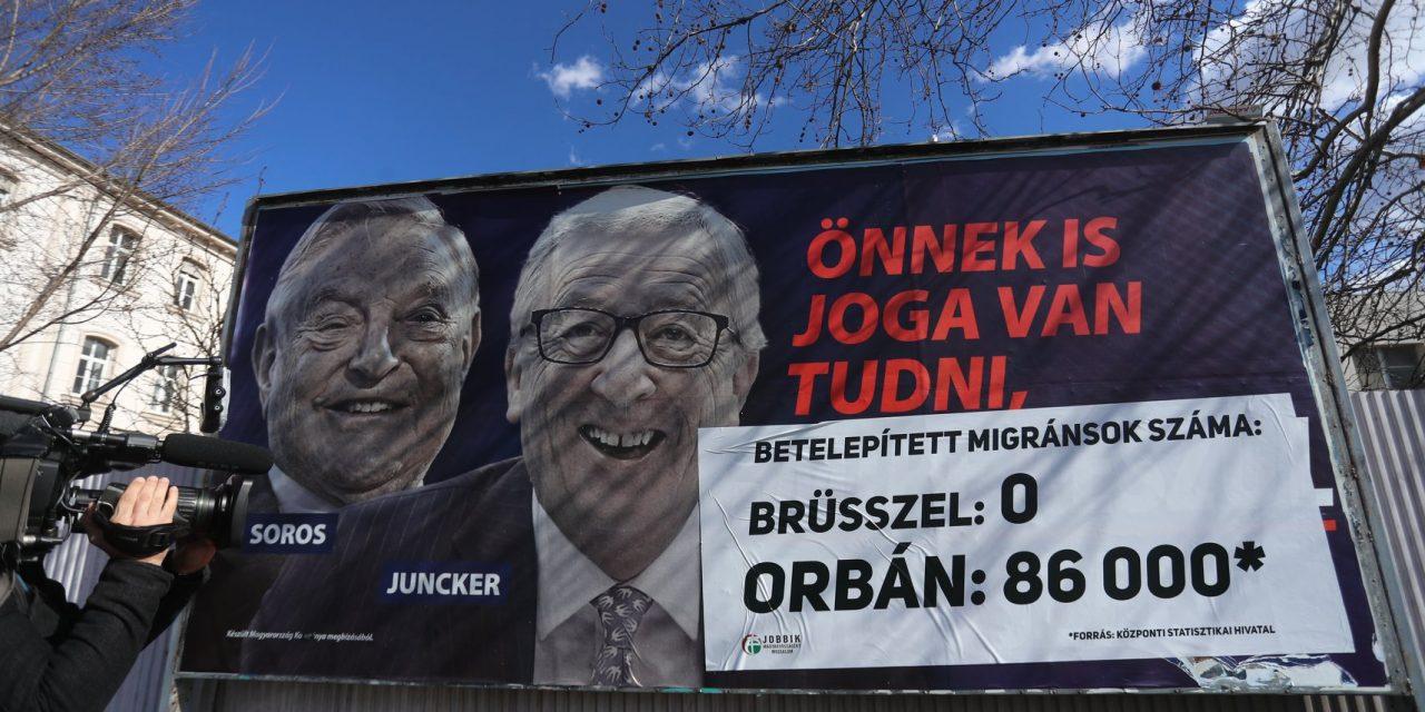 Jobbik to paste over government's Junker and Soros billboards