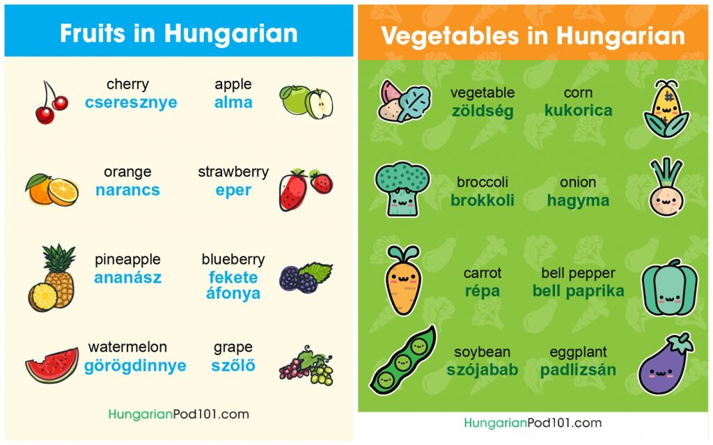 language lesson fruits vegetables hungarian