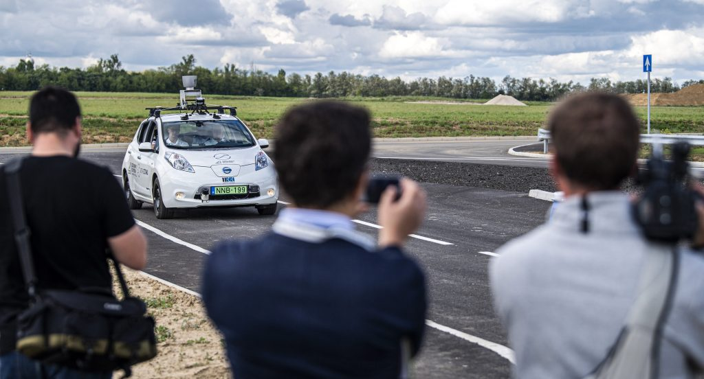 Self-driving vehicle test track opens in Zalaegerszeg, Hungary.