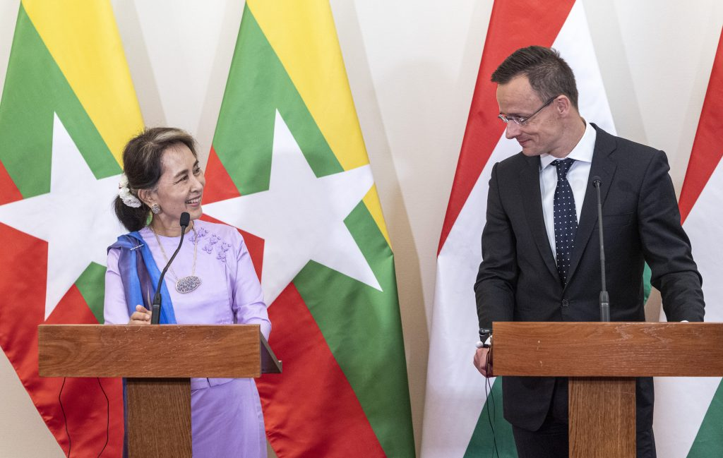 Myanmar's State Counsellor Aung San Suu Kyi held talks in Budapest