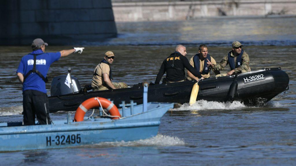 Ship collision in Budapest. rescue team,