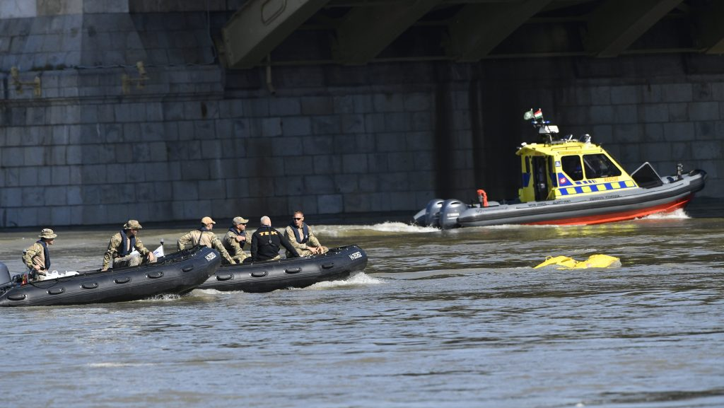 Ship collision in Budapest. rescue team,