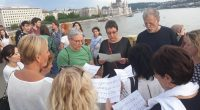 flash mob, singing, ship collision, Budapest