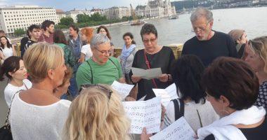 flash mob, singing, ship collision, Budapest