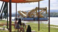 large crane ship Danube Hungary