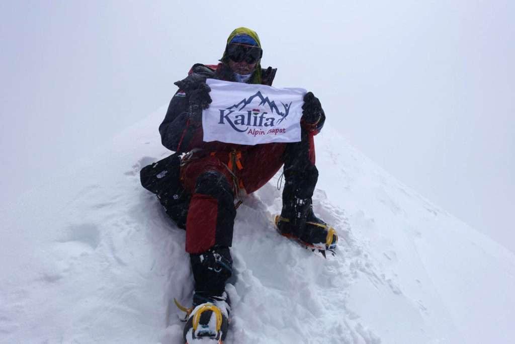 Hidden Peak, China. Hungarian mountaineer Csaba Varga climbs the 8080-meter Hidden Peak in Himalayas
