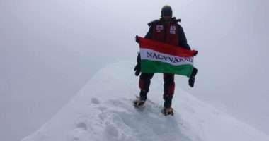 Hungarian mountaineer CSaba Varga climbs the 8080-meter Hidden Peak in Himalayas