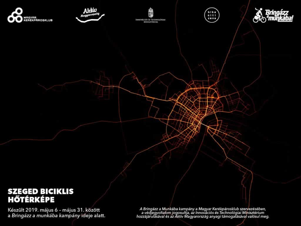 Bike routes in Szeged - heat map