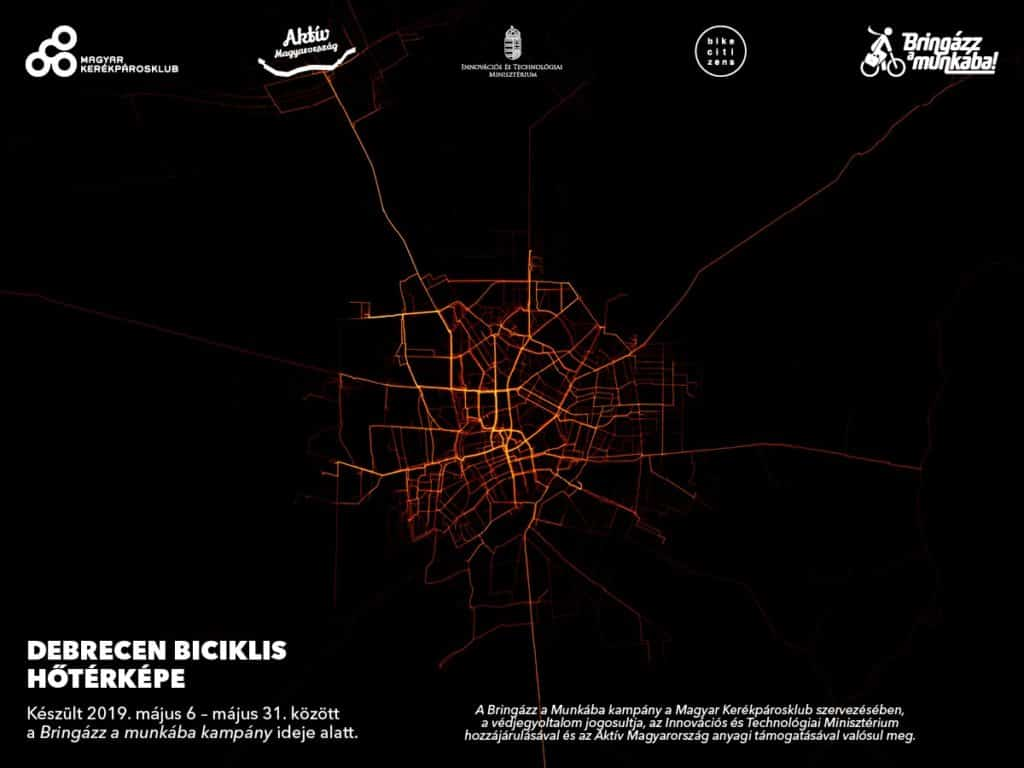 Bike routes in Debrecen - heat map