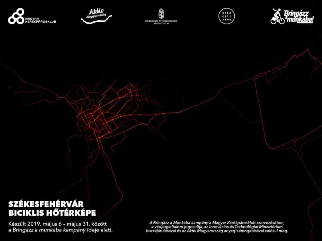 Bike routes in Székesfehérvár- heat map