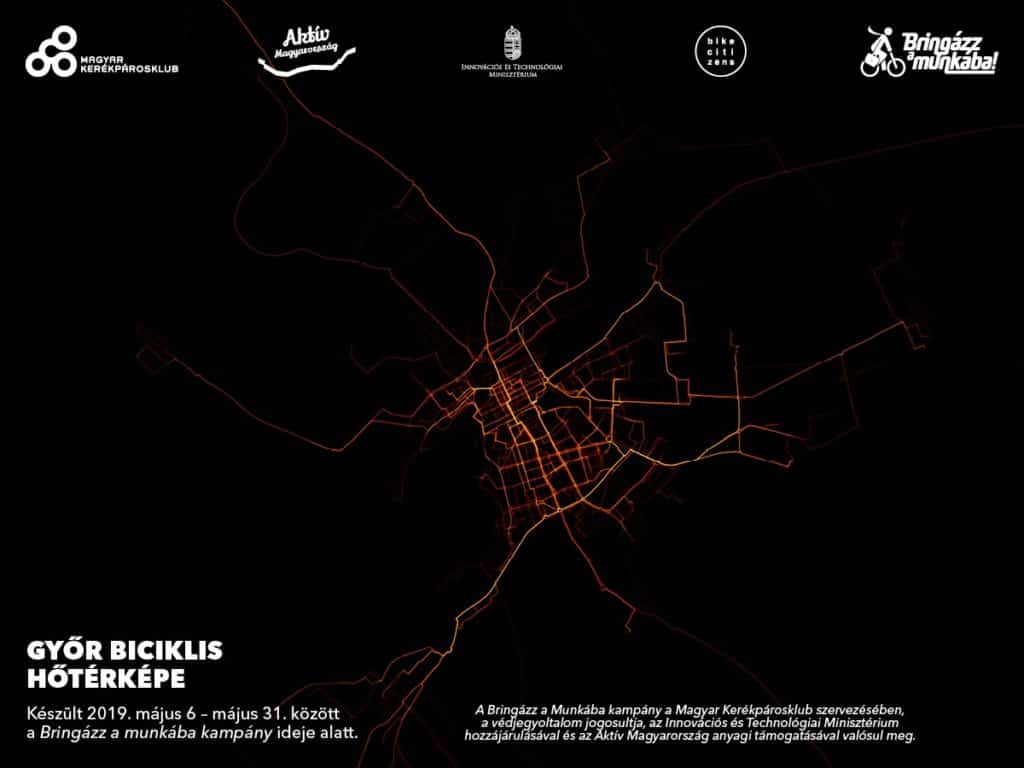Bike routes in GYőr - heat map