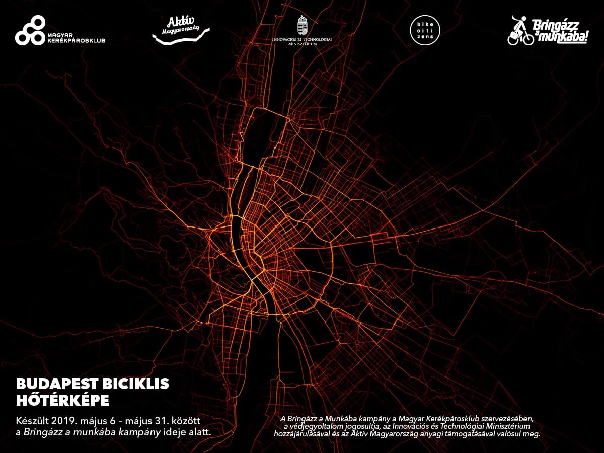 Bike routes in Budapest - heat map