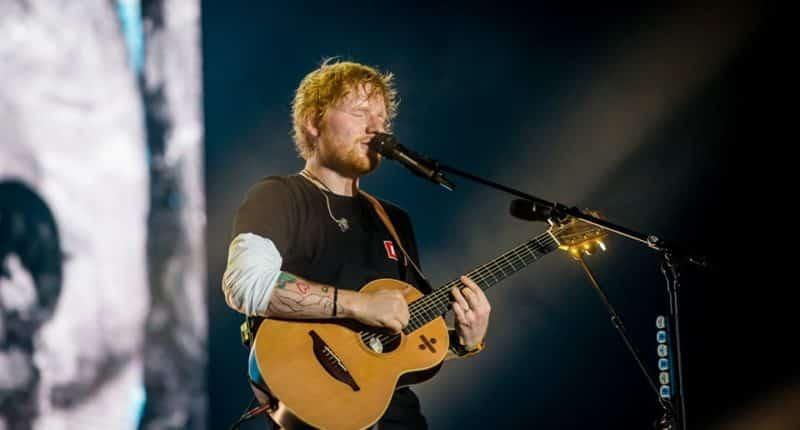 Ed Sheeran playing