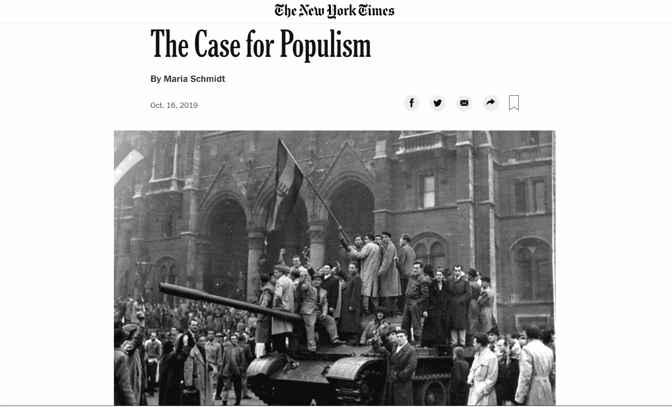 Hungarian historian makes 'the case for populism' in NYT