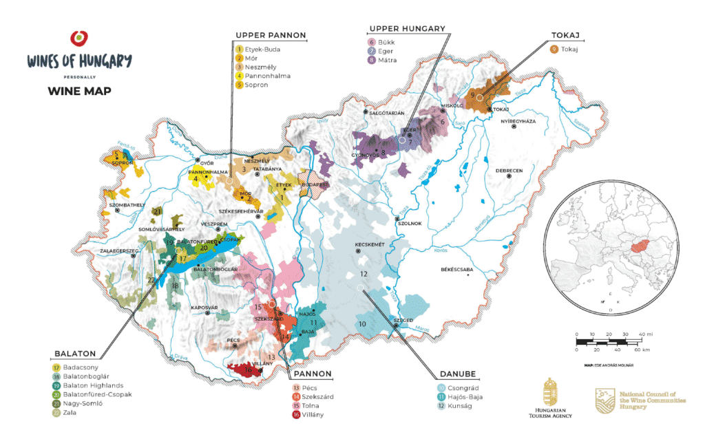 wine map, Hungary, wine, gastronomy, drink, map