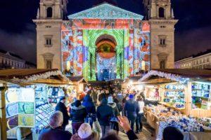 Budapest, Christmas, basilica, light show