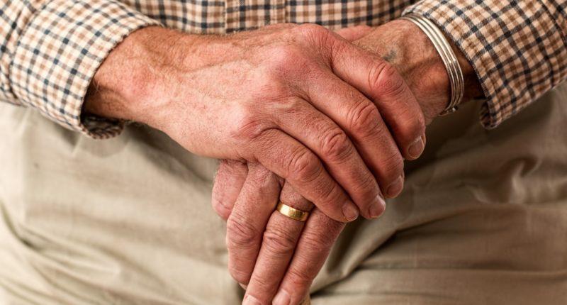 Old man hands senior