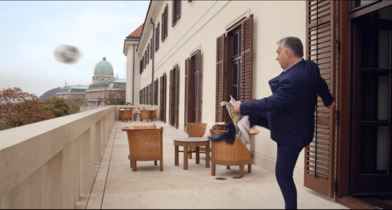 orbán kicks the ball to the stadium