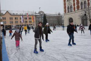 Újpest Town hall, ice skating, Budapest, Hungary