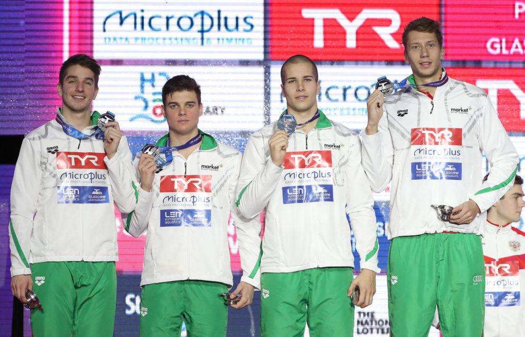 Bohus, Dávid Horváth, Szebásztián Szabó and Maxim Lobanovszkij - silver medal. Photo: MTI