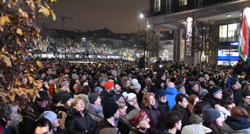 Protesters rallied in downtown Budapest against the government's new culture bill on Monday evening.