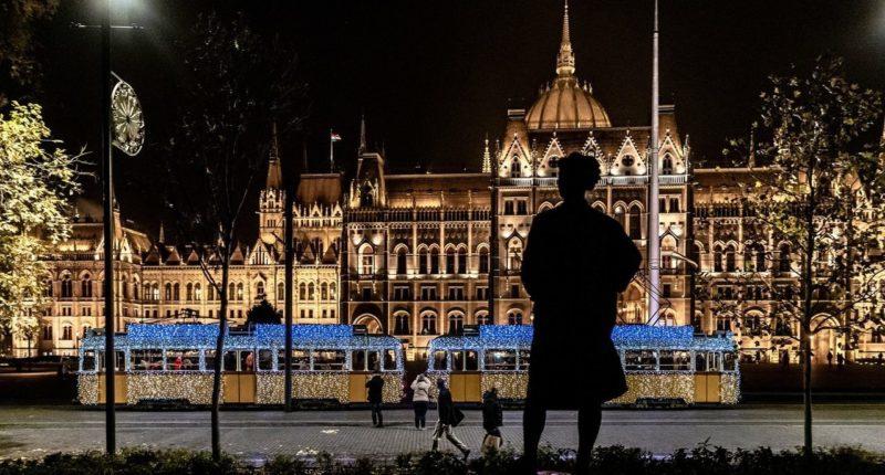 budapest christmas tram parliament
