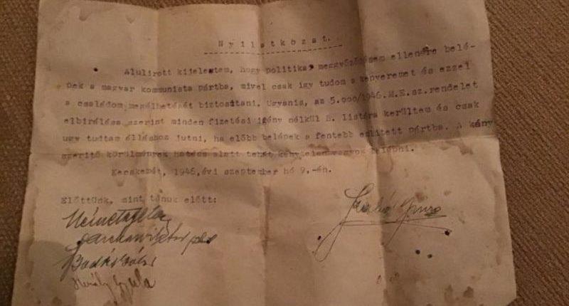 Imre Szabó Nyilatkozat Statement
