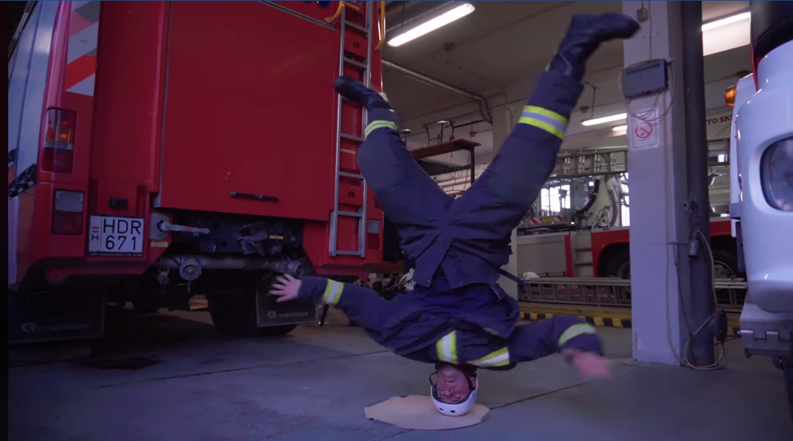breakdancing firefighter