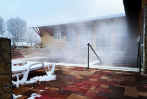 Ligetalja Thermal Bath, winter, Hungary, bath