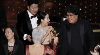 South Korea's Bong Joon-ho wins Best Director for Parasite. Photo: MTI/EPA/Etienne Laurent