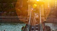 chain bridge sunset