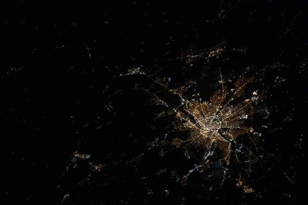 budapest at night from space