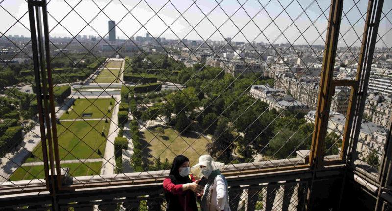 tourists on eiffel tower
